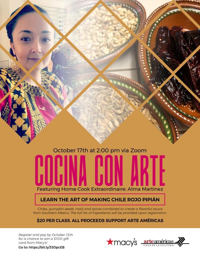 cocina con arte event flyer