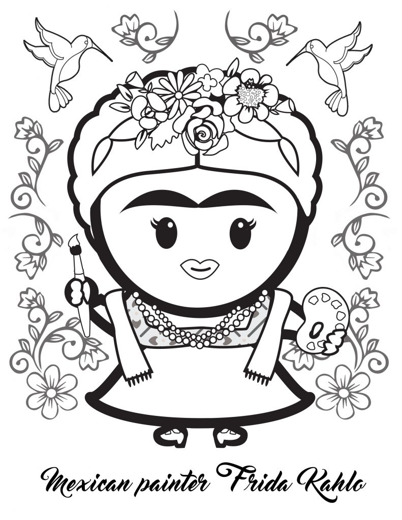 frida kahlo coloring image