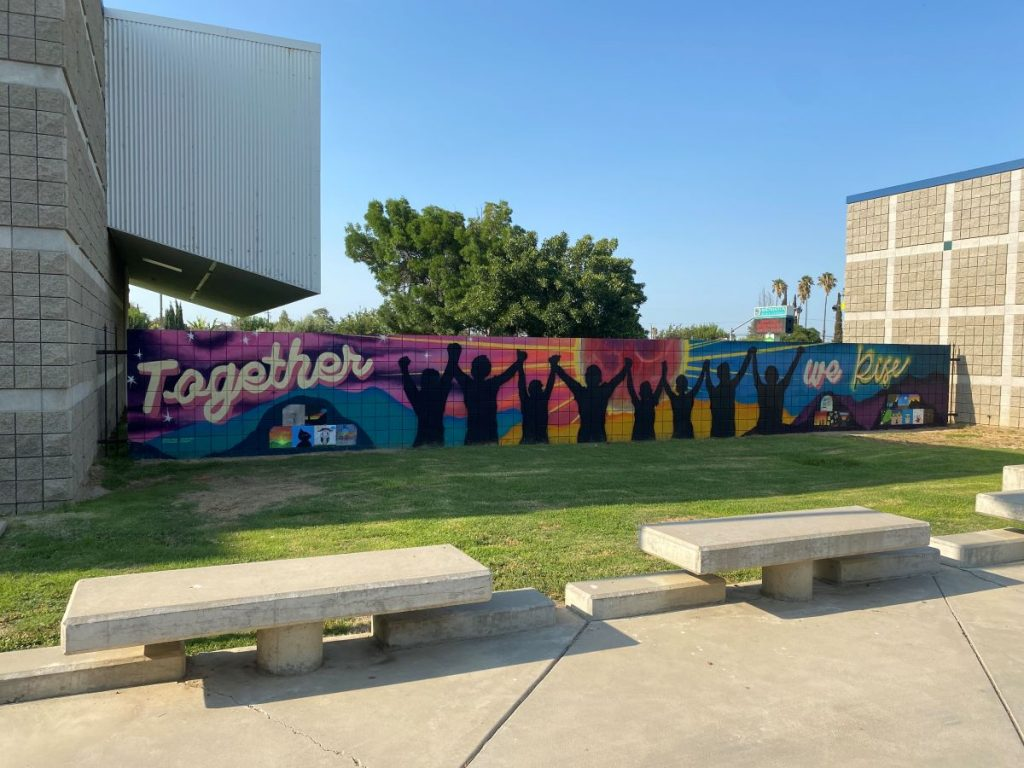 mural with benches